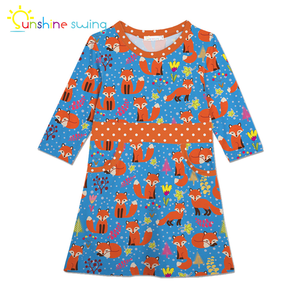 Sunshine Swing Multi Color Cartoon Animal Digital Print Girl Dress Children Cute Midi Kids Dress for Girls costum A-line Vestido print sleeveless midi dress