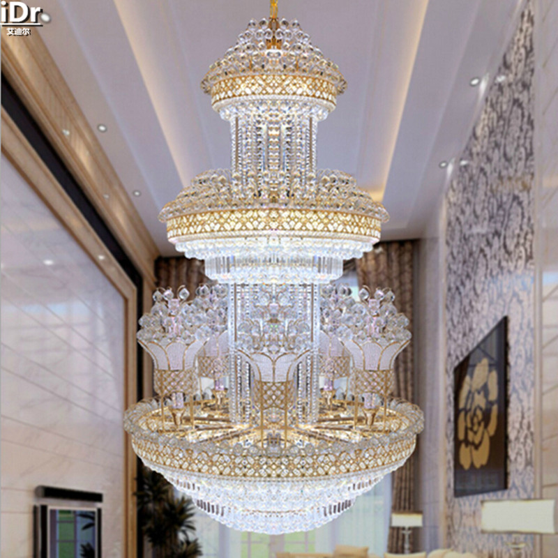 Kristall Licht Penthouse Etage Treppe Im Wohnzimmer Boden Scheinwerfer Lange Lampe Hotelprojekt Kronleuchter Lmy