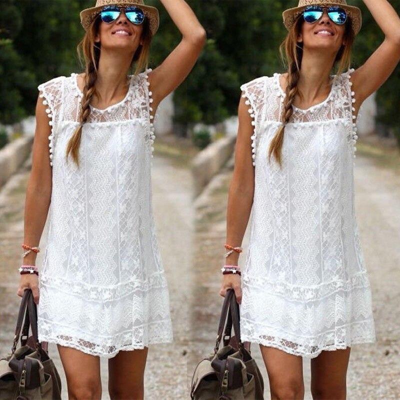 Women Summer Short Mini Dress Lace Floral Sleeveless Swimsuit Cover Up Swimwear Beachwear Sundress
