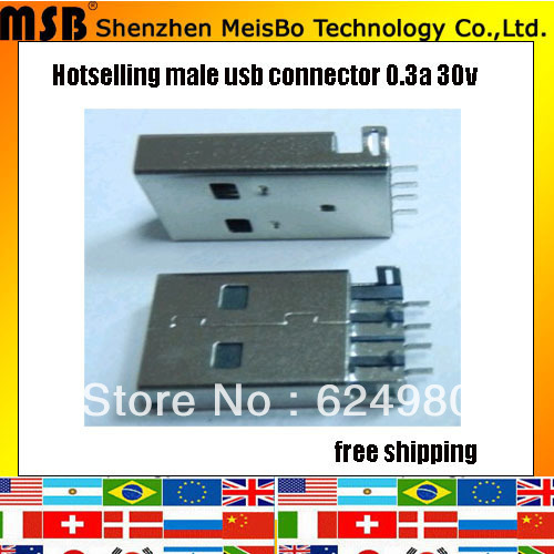 Universal 0.3a 30v copper mini usb dock connector 300pcs/lot free shipping by Fedex