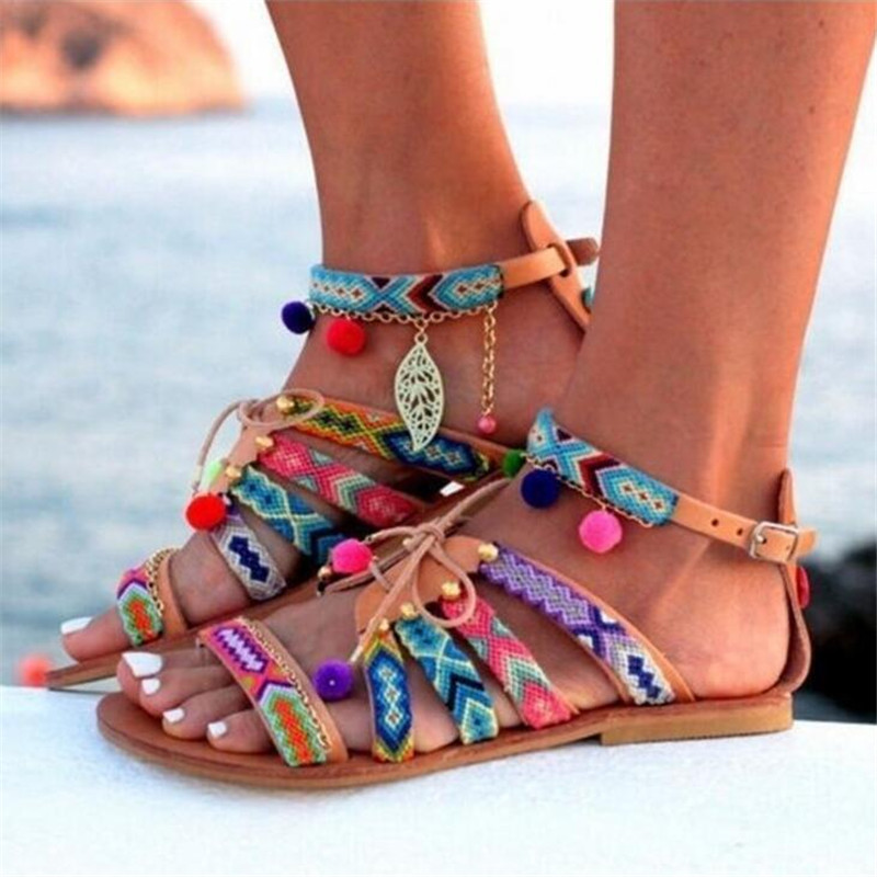 PLUS size Bohemia beach summer sandals women shoes colourful Casual flat gladiator ladies sandals flat with fashion sandals 2018 summer air mesh shoes women casual sneakers women flat shoes new fashion lovers unisex beach shoe casual sandals large size