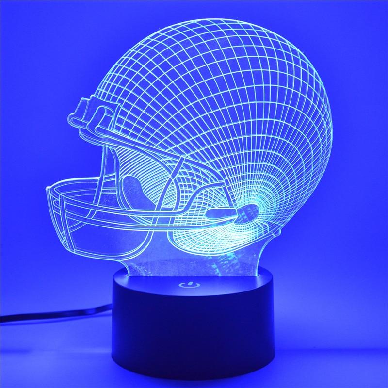 AUCD 3D Tafellamp Rugby Cap-logo Kinderkind Kerstcadeau - Nachtlampje - Foto 3