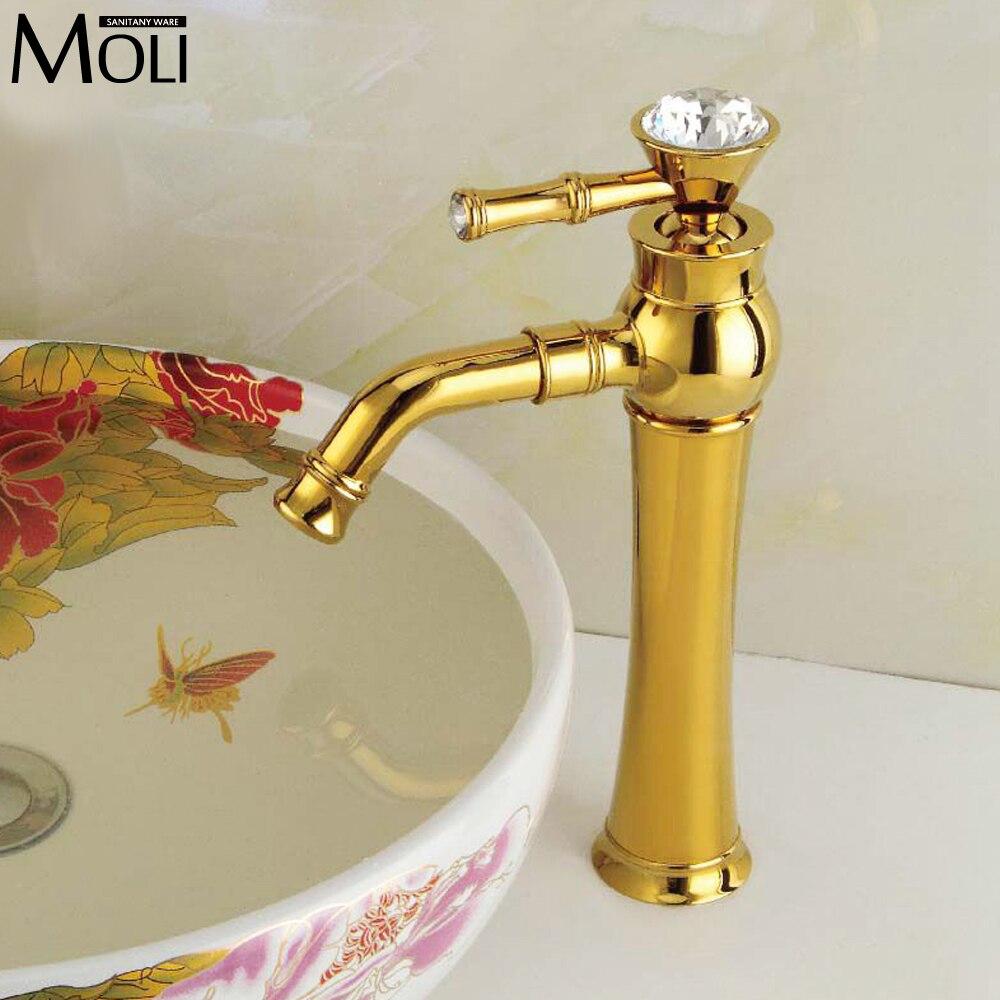 ФОТО Bathroom faucets crystal handles gold luxury basin sink water tap single handle