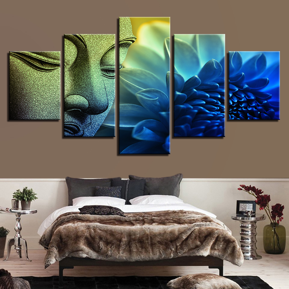 Modular Pictures Modern On The Wall Art Artwork 5 Panel Buddha For Living Room Home Decoration Abstract Painting On Canvas