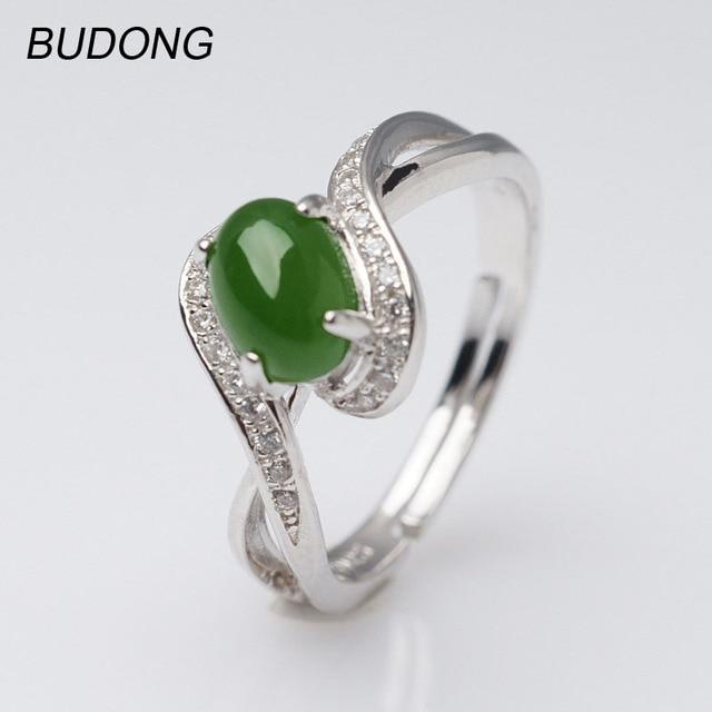 Budong Adjustable Oval Natural Nephrite Jade Jasper Band Fine