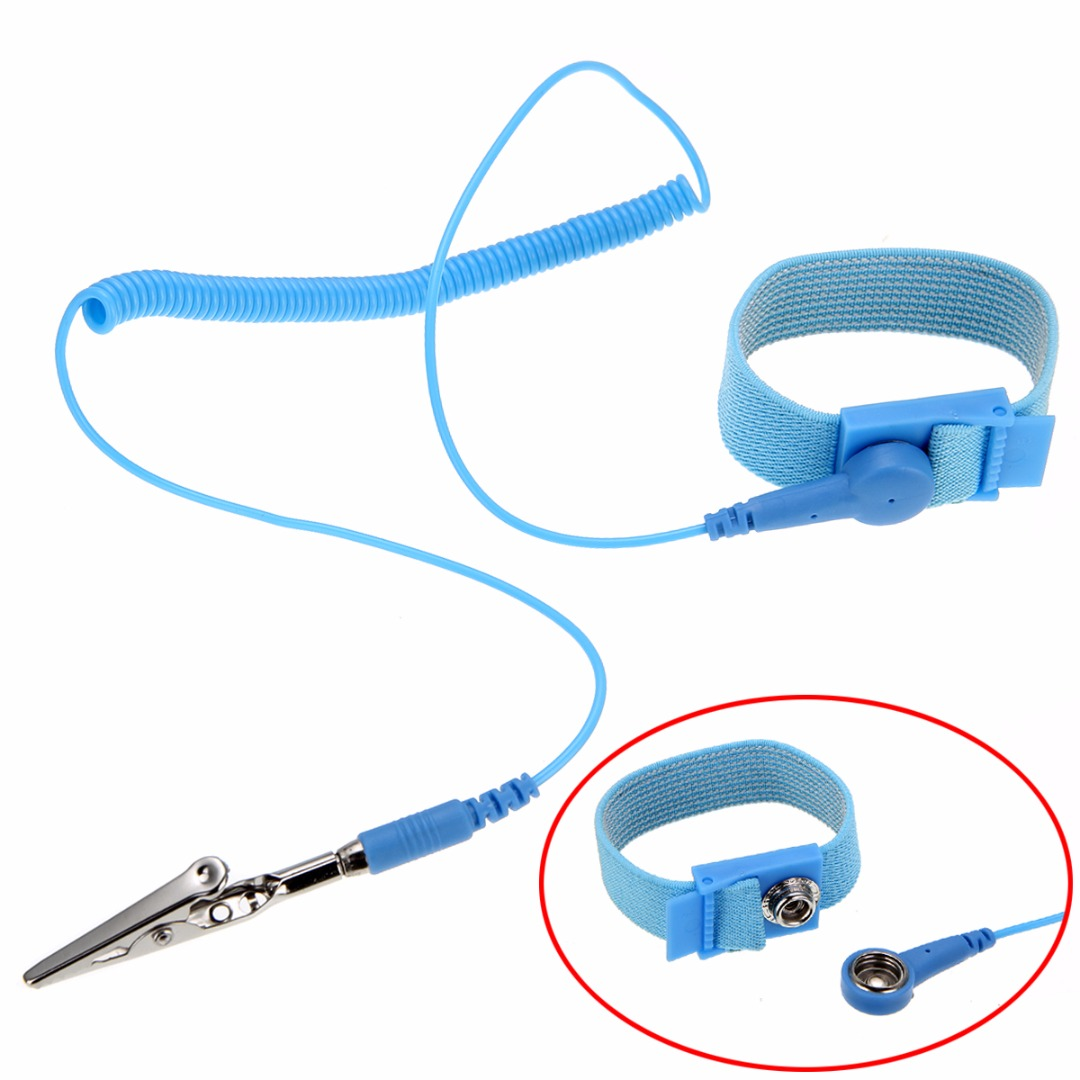 1pc Polyurethane Anti Static Electricity Grounding Wired Wristband ESD Discharge Wrist Strap Band with Alligator Clip Tip