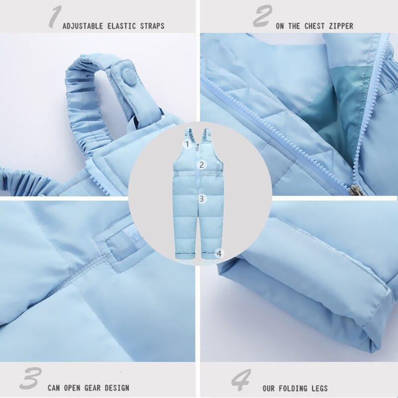 Children Clothing Sets Jumpsuit Snow Jackets+bib Pant 2pcs Set 2018 Winter Baby Boy Girls Duck Down Coats Jacket With Fur Hood