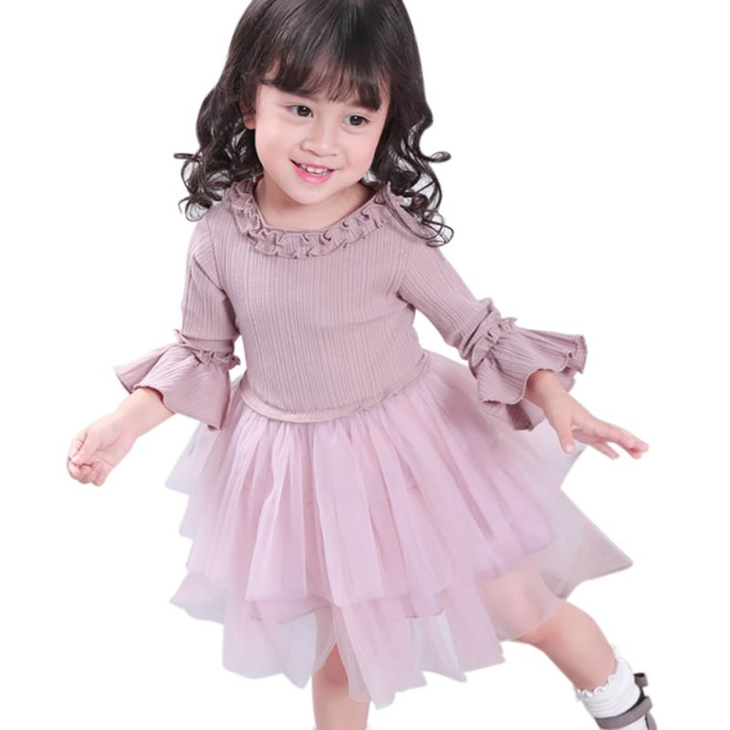 2017 New Arrival Autumn Winter Fashion Casual Girls O-Neck Dress Long Sleeve Lace Sweet Princess Ball Gown