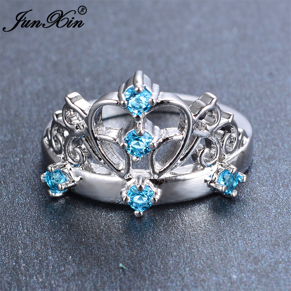 JUNXIN Male Female Light Blue Crown Ring Fashion White