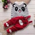 Малыш хлопка ребенка весенняя одежда комплект, Полосой мультфильм рисунок футболка + длинные брюки устанавливает, Мода девочка костюм детская одежда