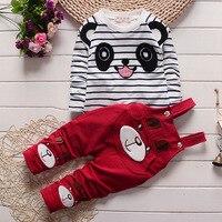Maluch Dziewczynka Bawełniane Wiosenne Ubrania Zestaw, stripe Cartoon Wzór T-shirt + Długie Spodnie Ustawia, moda Dziewczynka garnitur Ubrania Dla Dzieci