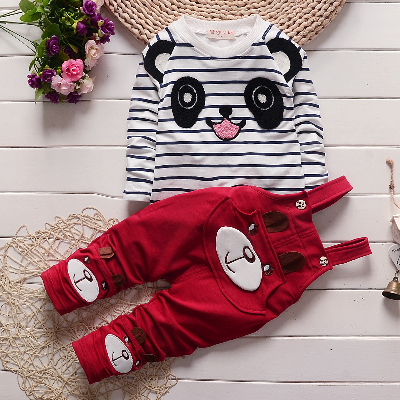 Toddler Baby Girl Cotton Spring Clothes Set,stripe Cartoon Pattern T-shirt + Long Pants Sets,fashion Baby Girl Suit Baby Clothes 2017 new cartoon pants brand baby cotton embroider pants baby trousers kid wear baby fashion models spring and autumn 0 4 years
