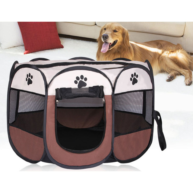 adaf6d35dd9 HOT Portable Folding Pet tent Dog House Cage Dog Cat Tent Playpen Puppy  Kennel Easy Operation Octagonal Fence outdoor supplies