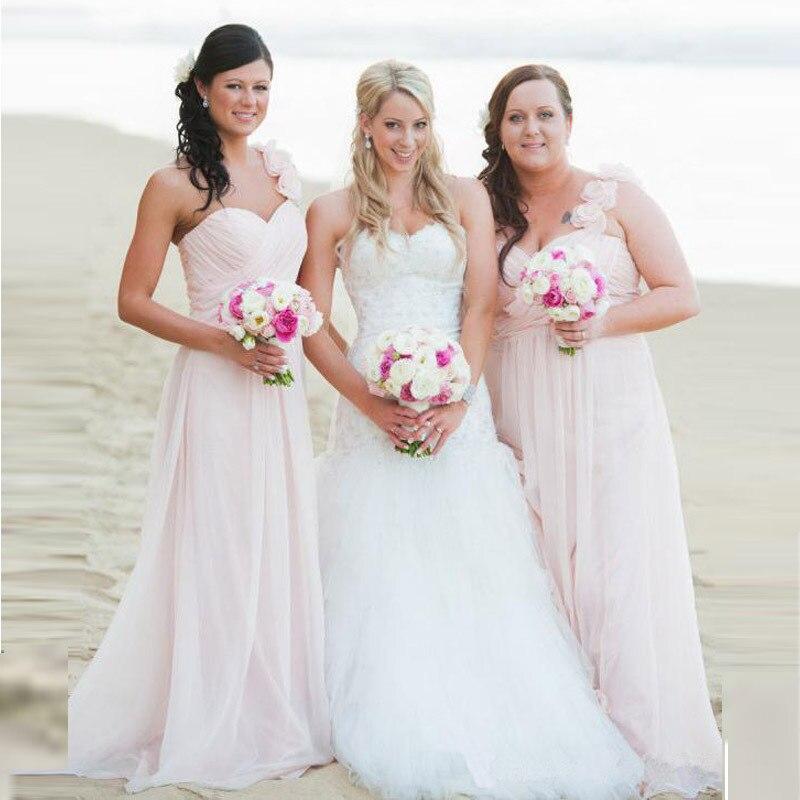 Cheap Chiffon Long Bridesmaid Dresses Pink Plus Size One