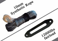 Grey 10mm 30m Synthetic Rope And 10 Hawse Fairlead Synthetic Winch Cable For Winch Plasma Rope