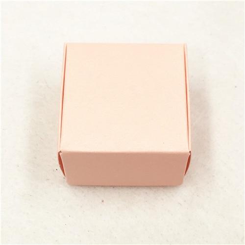 50 шт 4*4*2,5 см самолет коричневый подарочная упаковка крафт-бумага упаковочная коробка ручной работы Любовь Свадьба \ ремесла \ торт \ мыло ручной работы \ коробки для конфет - Цвет: Розовый