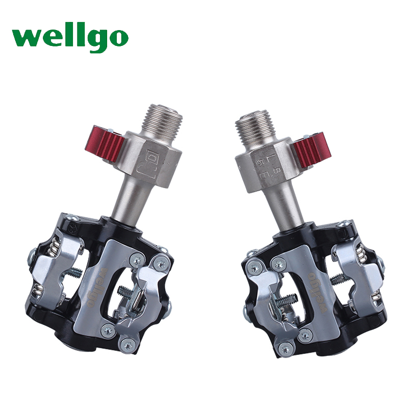 wellgo M19 bicycle pedal 14mm QRD mountain bike clipless pedals MTB cleats ultralight 300g Al-alloy CrMo axis quick release цена