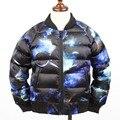 Hiheart 2016 Новый Galaxy 3D Печатные Star Мальчики Пуховик Пальто Дети Спортивная Одежда Парки Мода Дети Верхняя Одежда