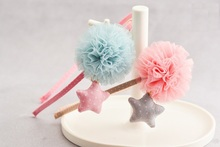 10pcs Fashion Cute Gauze Pom Pom Ball Girls Hard Hairbands Solid Kawaii Polka Dot Star Girls Headbands Headware Accessories