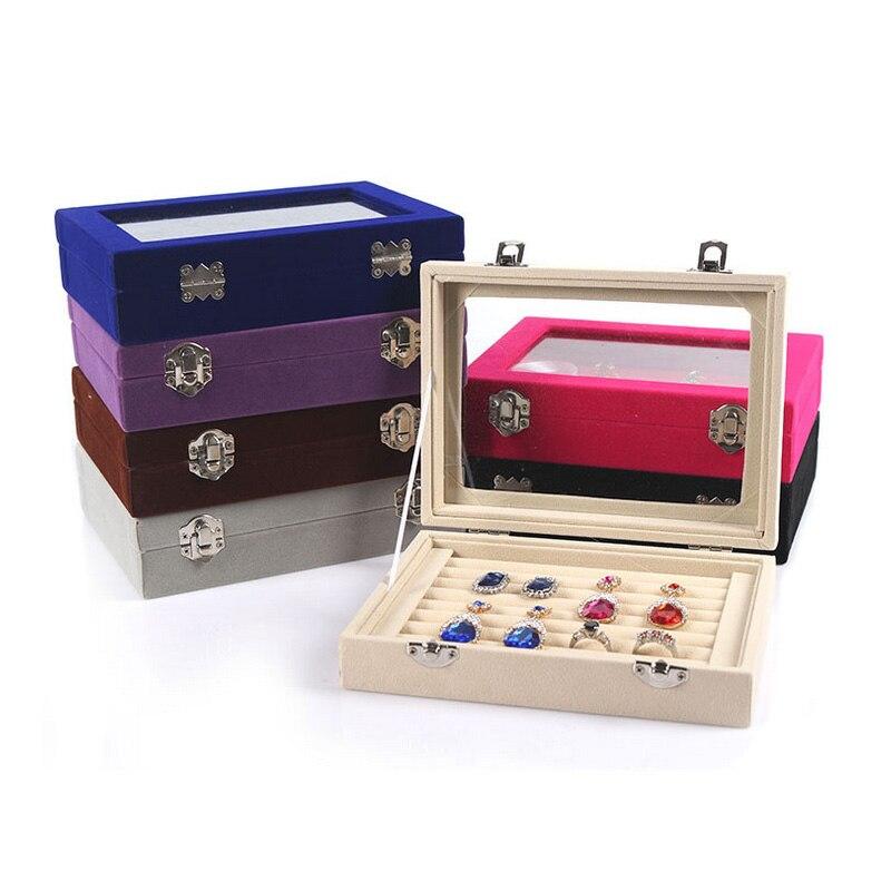 2018 nuevo 7 color 8 cabinas terciopelo estuche con cubierta de vidrio anillo exhibición de la joyería caja del sostenedor de la bandeja caja de almacenamiento organizador