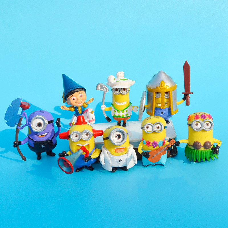 8 PCS/Set Hot Sales 4.5-6.5cm 3D Eye Despicable Me 2 Minions Purple Figure Set doll Toys Christmas Gift for Kids