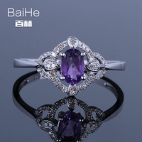 BAIHE Solid 14K White Gold(AU585) 0.12CT Certified Oval Genuine Natural Amethyst Wedding Women Wedding Trendy Fine Jewelry Ring
