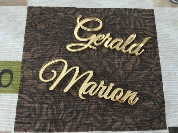 1 Piece Custom Laser Cut Place Name Setting Guest Name Silver / Gold Mirror Acrylic Place Card Decor Wedding Party Centerpiece