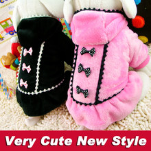 Fleece Winter Dog Dress Princess Dog Clothes Pink Black Soft Warm Puppy Hoodie Skirt for Female Dogs Cats XXS XS S M L size(China)