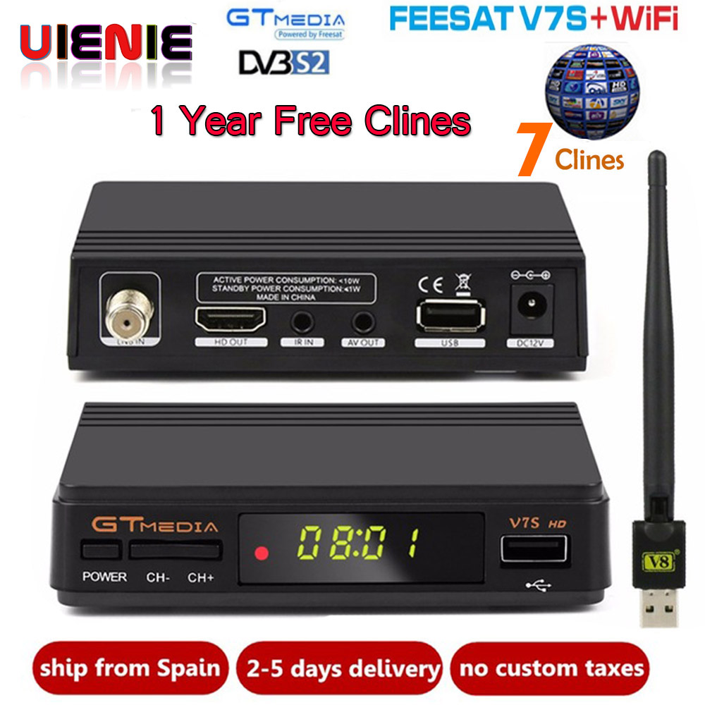 Freesat V7S HD + WI-FI + 1 год Европа Cccam DVB-S2 спутниковый ресивер Полный 1080 P HD рецепторов Поддержка PowerVu youTube Bisskey Youpron