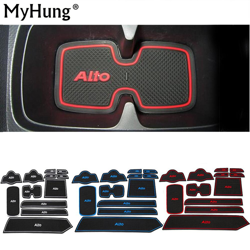 Fit For Suzuki Alto 2009 To 2014 High Quality Car Gate Slot Pad Rubber Car cup Mat Non-slip Mat Auto Accessories 12pcs Per Set