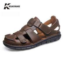 zapatillas hombre casual high quality sandal men summer new arrival slippers genuine sandals brand outdoor shoes Hook & Loop