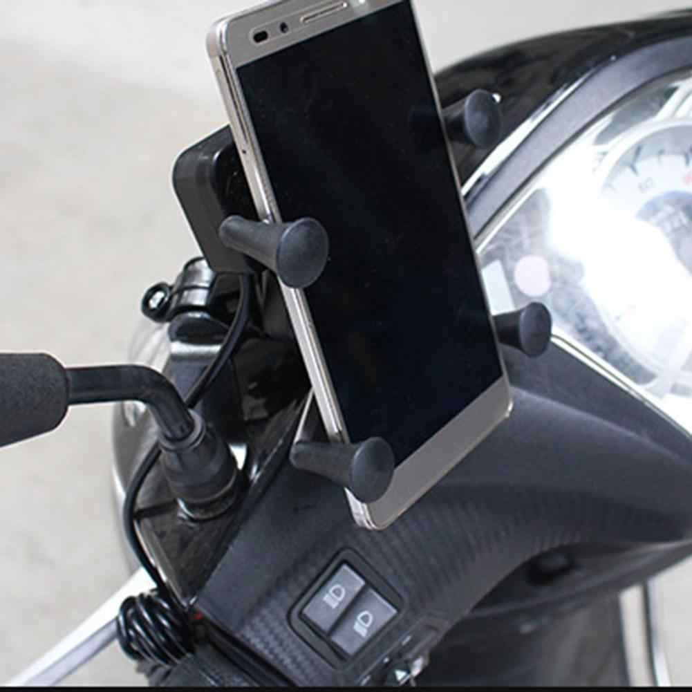 Universal Motorcycle Cell Phone Mount Holder Waterproof with USB Charger 360 Degrees Rotation for GPS ATV Scooter Moped Cruiser