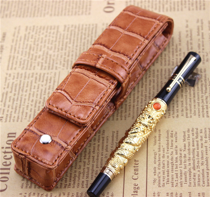 golden JINHAO free shipping fountain pen dragon pens High quality metal pen school office study materials business gift 006 jinhao fountain pen unique design high quality dragon pens luxury business gift school office supplies send father friend 008