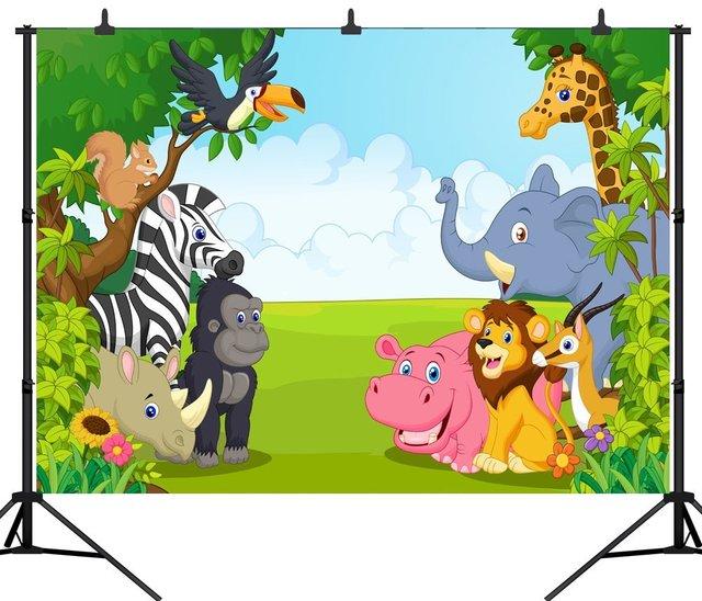 Capisco Seamless Jungle Safari Themed Animals Birthday Party Banner Photo Background Baby Kids Portrait Backdrop