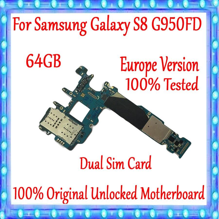 Original débloqué pour Samsung Galaxy S8 G950FD carte mère 64 GB, avec système Android Version EU pour Galaxy S8 G950FD carte mère
