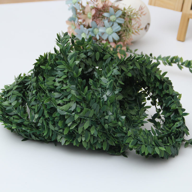 7.5M New Silk Garland Green Leaf Iron Wire Artificial Flower Vine Rattan For Wedding Car Decoration Party DIY Wreath Flowers
