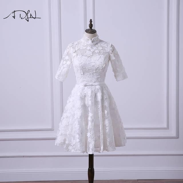 Online Shop Adln Vintage Lace Short Wedding Reception Dress High