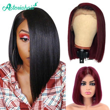 Asteria Hair Brazilian Straight Short Bob Wigs Lace Front Human Hair Wigs Pre Plucked Natural Wigs For Black Women Remy Hair(China)
