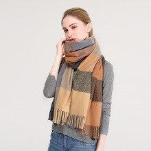 Fashion 2018 new women warm winter shawls wraps lady plaid cashmere long head scarves keep scarf hijabs stoles