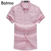 Batmo 2017 New Arrival High Quality 100 Cotton Fashion Casual Bussiness Plaid Pink Shirt Men Size