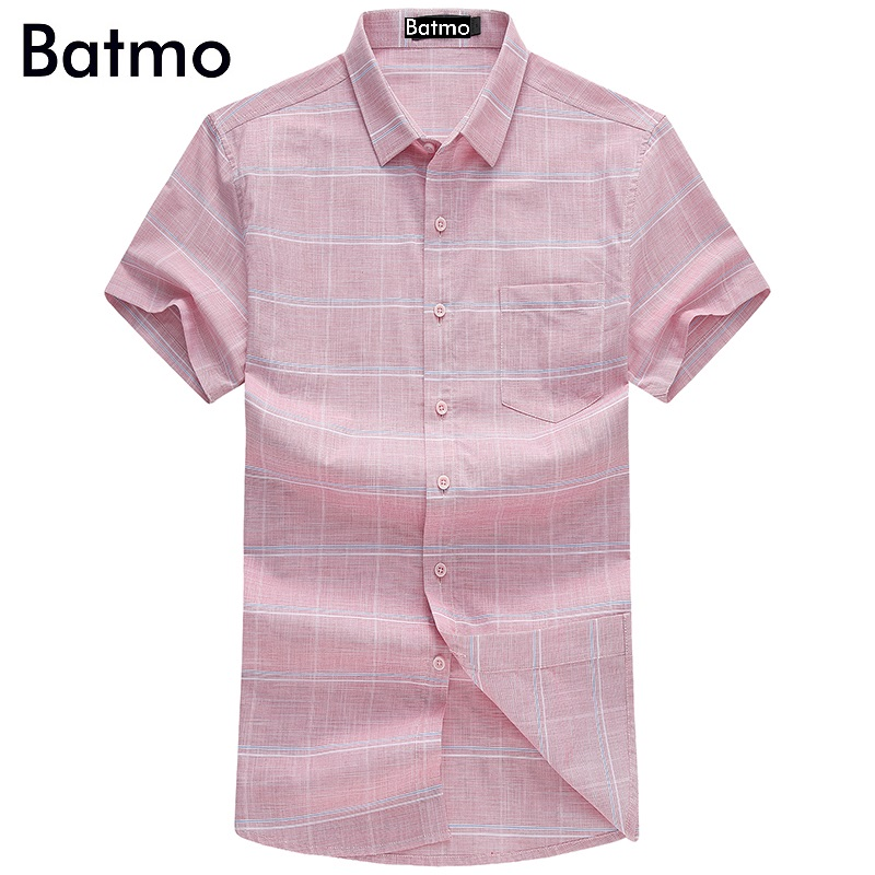 Batmo 2017 new arrival high quality 100% cotton Fashion casual bussiness plaid pink shirt men size M.L.XL.XXL.XXXL T950