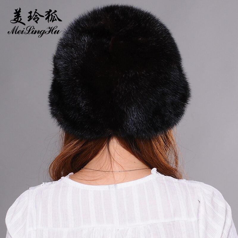 Véritable vison fourrure pompon chapeaux femmes bonnets chapeau naturel vison fourrure chaud nouveaux Skullies et bonnets pour femmes Cap chapeaux d'hiver - 5