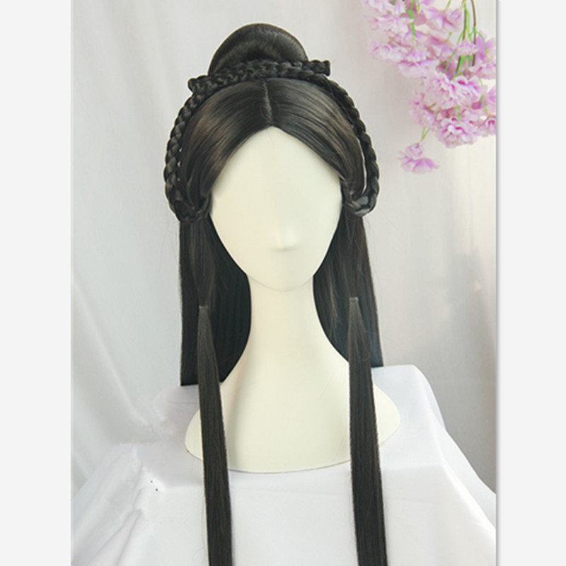 70cm princess party favours chinese ancient hair cosplay black vintage hair for children and small face women halloween cosplay