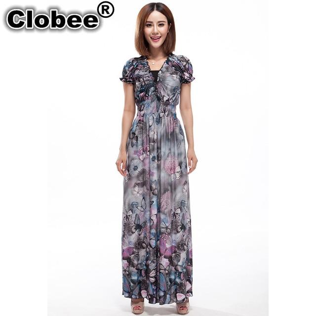 5e55a5dedf US $17.38 49% OFF|Clobee Women Summer Dress Butterfly Printed Ukraine  Bohemian Dresses 5XL 6XL Plus Size Dress hippie boho Ruffles Long Maxi  Dress-in ...
