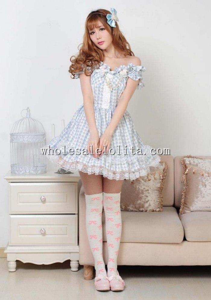 Sky Blue Flat Shouders Sweet Lolita Dress for lolita Dress Up Games ...