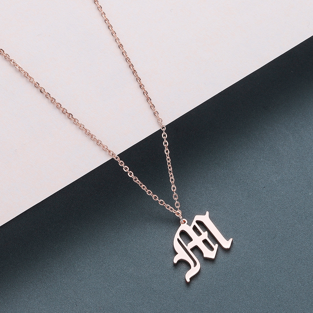 Todorova Old English Custom Capital Initial A-Z Letter Pendant Necklace Men Vintage Font Personalized Necklace Women Jewelry 39