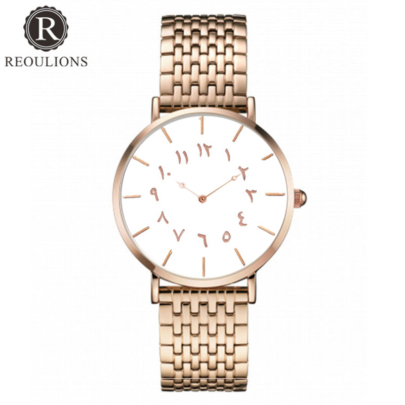 REOULIONS Top Luksus Brand New Arabic Numbers Watch Fashion Steel - Dameure - Foto 2