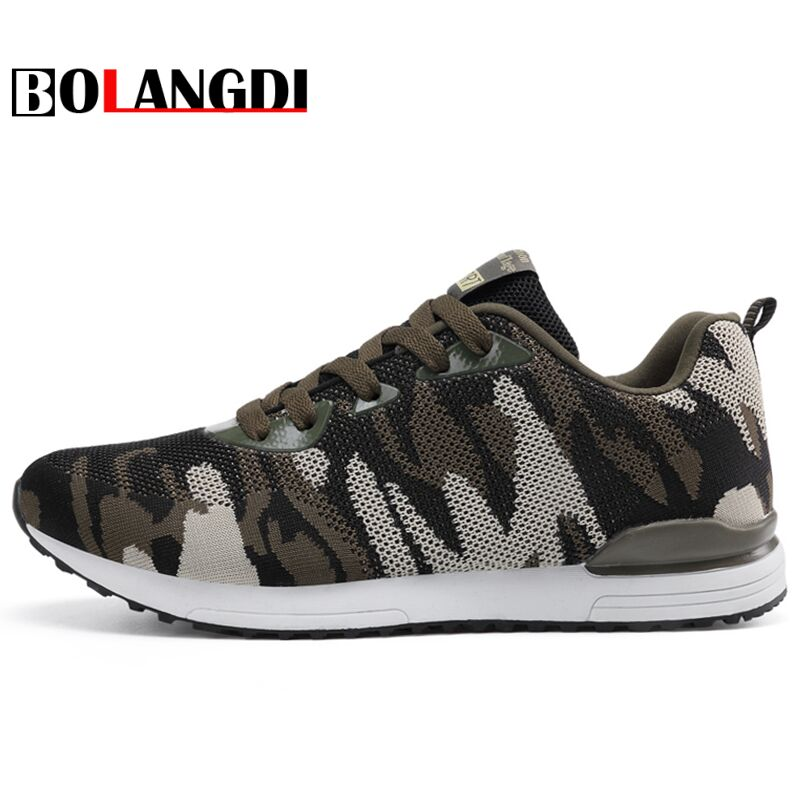 Bolangdi Camouflage New Men Running Shoes for Women Outdoor Breathable Mesh Light Shoes Cozy Female Sneakers Unisex Sport Shoes new running shoes for men 2017 outdoor breathable mesh light flat shoes comfortable sneakers athletics women lovers sport shoes