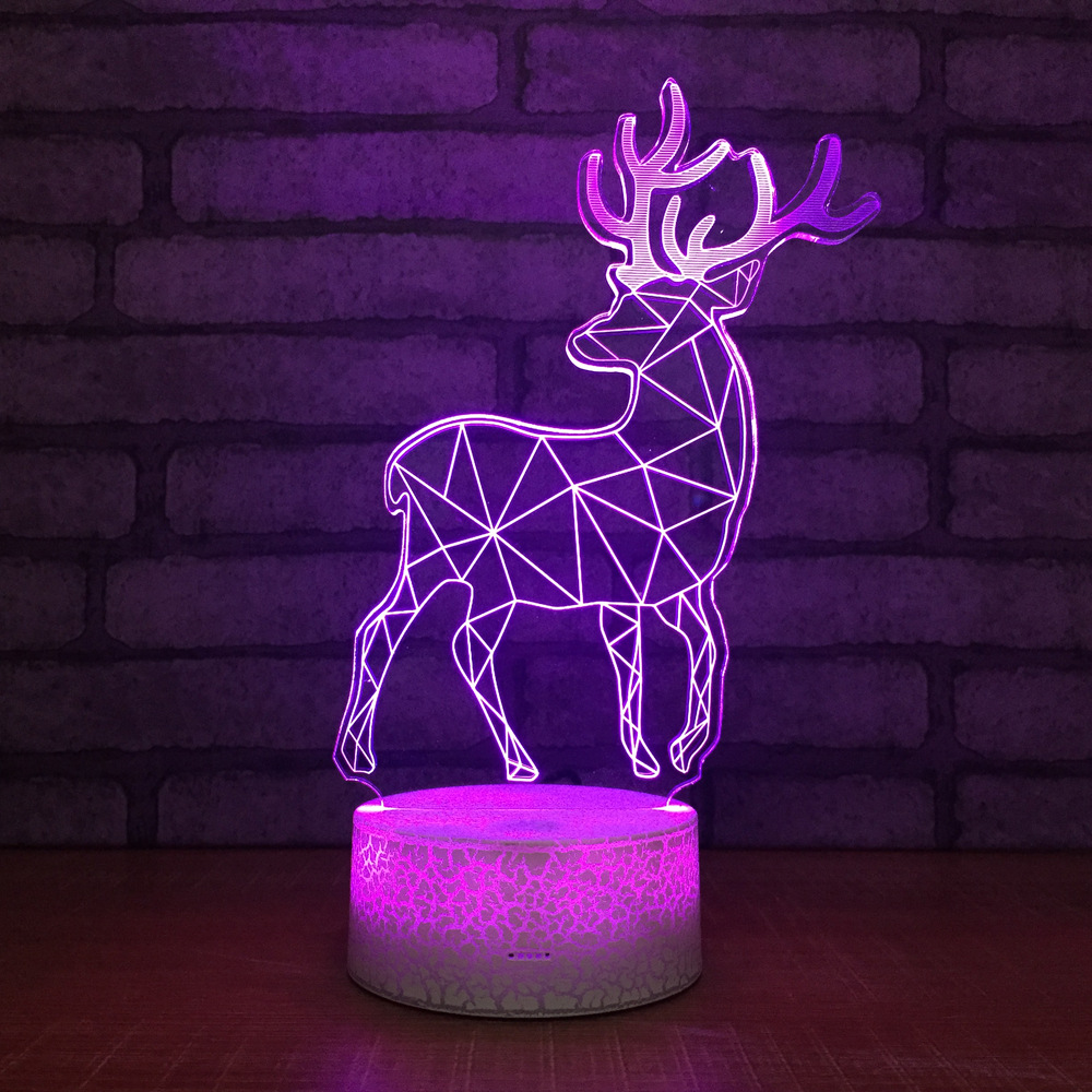 2019 Fashion Elk Creative New Strange Stall 3d Visual Lamp Wholesale Table Lamp Blue Christmas Decorations Gift For Baby Room Lights