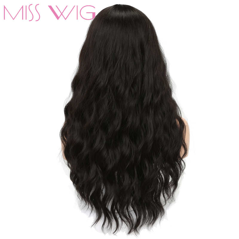 MISS WIG Long Black Womens Wigs With Bangs Heat Resistant Synthetic Wavy Wigs For Black Women African American